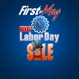 International Labor day, sales, commercial event. Holidays, design background with 3d texts for International Labor day, sales commercial event; Vector Royalty Free Stock Image