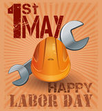 International Labor Day. 1st May. Retro poster. With hard hat and wrench on vintage grunge background. International Workers Day. May Day. Vector illustration Royalty Free Stock Photo