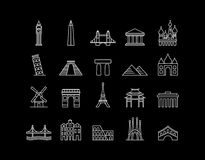International landmark simple line art icon set Stock Photo