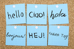 International Languages Hello. Hello in lots of different languages stock images