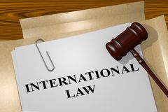 International Law concept. 3D illustration of INTERNATIONAL LAW title on legal document Stock Photo