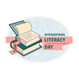 International Literacy Day card. Book and ribbon. Stock Photo