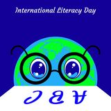 International Literacy Day. Planet Earth is a person in glasses who reads letters. International Literacy Day. The concept of a social event. Planet Earth is a Vector Illustration