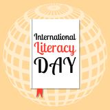 International Literacy Day. Event name on the cover book. International Literacy Day. The concept of a social event. Event name on the cover book. The Stock Illustration