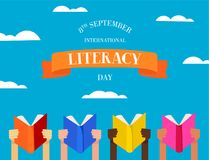 World Literacy Day concept of people with books Royalty Free Stock Photos