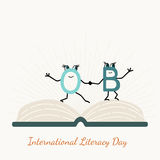 International literacy day with letter characters Royalty Free Stock Images