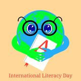 International Literacy Day. Planet Earth holds a book with the letter A on the cover. International Literacy Day. The concept of a social event. Planet Earth Stock Illustration