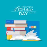 International Literacy Day poster. Education concept vector illustration. Pile of books Royalty Free Stock Images