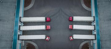 International logistics center with trucks top view stock photography