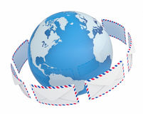 International mail. Globe in the ring of envelopes. 3d Stock Photo