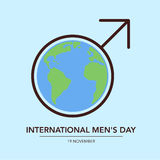 International Man's Day. Poster. Male sign around Earth. Flat  illustration Stock Photos