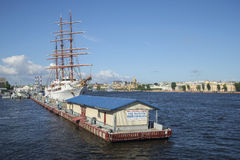 The international marina and the sailing ship Sea Cloud II sunny july afternoon. St. Petersburg Stock Image