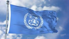 International Maritime Organization IMO Waving Flag. New York, USA - November 2017: International Maritime Organization IMO flag waving against clear blue sky Royalty Free Stock Photos