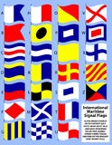 International Maritime Signal Flags/eps. Illustration of the maritime signal flags in a casual waving form Stock Photos