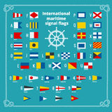 International maritime signal flags. Sea alphabet. Flat vector illustration. Royalty Free Stock Image