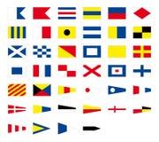 International maritime signal nautical flags, isolated on white background Stock Photos