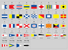 International maritime signal nautical flags, morse alphabet. For print or internet. Best for education Royalty Free Stock Images