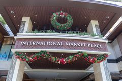 International Market Place shopping mall at Kalakaua avenue, Honolulu. Honolulu, Hawaii - Dec 23, 2018 : International Market Place, shopping mall at Kalakaua stock photography