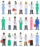 International medical concept. Detailed illustration of doctor and nurses in flat style isolated on white background. Practitioner. International medical concept Royalty Free Stock Photography