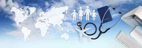 International medical travel insurance concept,stethoscope, passport, computer, family shape and airplane on sky background with. International medical travel stock image