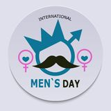 International Men`s Day. Banner in the form of a symbol of a man with a crown, mustache and eyes surrounded by female symbols. Vec royalty free illustration