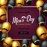 International men`s day or Father`s Day vector greeting card. Realistic balloons black, gold with mustache symbol on Royalty Free Stock Photo