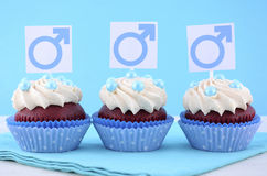 International Mens Day Cupcakes with Male Symbols. Royalty Free Stock Images