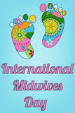 International midwives day with baby feet. Vector international midwives day with baby feet stock illustration