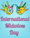 International midwives day with baby hands. Vector international midwives day with baby hands vector illustration