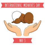 International Midwives Day concept card. With cute hand drawn newborn baby and midwife holding hands royalty free illustration
