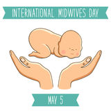 International Midwives Day concept card. With cute hand drawn newborn baby and midwife holding hands stock illustration