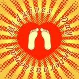 International Midwives Day. Footprints of the baby. Background red heart. Rays from the center. Pop art style. The text in a circle is the name of the holiday royalty free illustration