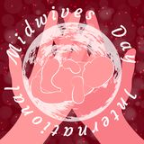 International Midwives Day. Hands hold the planet Earth and newborn baby. Background crimson, blur, stars. The text in a circle is the name of the holiday vector illustration