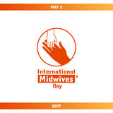 International Midwives Day, May 5. Vector design element. Hand of child lying on woman`s hand. Symbol of midwive and newborn baby. Greeting card or banner vector illustration