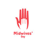 International Midwives Day, May 5. Vector design element. Hand of child lying on woman`s hand. Symbol of midwive and newborn baby stock illustration