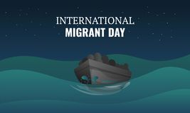 International migrant day concept banner, cartoon style royalty free illustration