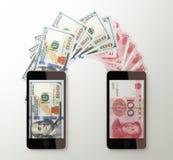 International mobile money transfer, Dollar to Chinese yuan Stock Image