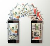 International mobile money transfer, Dollar to Indian rupee Royalty Free Stock Photography
