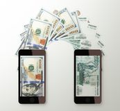 International mobile money transfer, Dollar to Russian rubles Stock Image