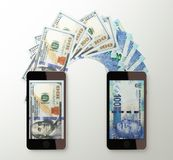 International mobile money transfer, Dollar to South African ran Stock Photography