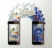 International mobile money transfer, Dollar to Swiss franc Royalty Free Stock Images
