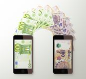 International mobile money transfer, Euro to Argentine peso Royalty Free Stock Photos