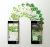 International mobile money transfer, Euro to Australia dollar Royalty Free Stock Photos