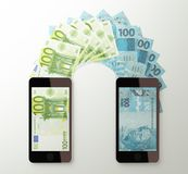 International mobile money transfer, Euro to Brazilian real Stock Image