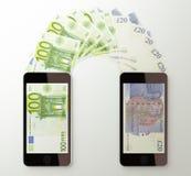 International mobile money transfer, Euro to British pounds Royalty Free Stock Image
