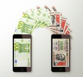 International mobile money transfer, Euro to Indian rupee Royalty Free Stock Photos