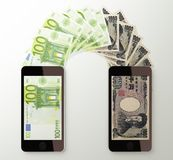 International mobile money transfer, Euro to Japanese yen Stock Photo