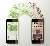 International mobile money transfer, Euro to Mexican peso Royalty Free Stock Image