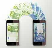 International mobile money transfer, Euro to South African rand Stock Images