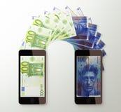 International mobile money transfer, Euro to Swiss franc Stock Image